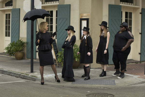 L-R: Jessica Lange &#40;Fiona&#41;, Emma Roberts &#40;Madison&#41;, Jamie Brewer &#40;Nan&#41;, Taissa Farmiga &#40;Zoe&#41; and Gabourey Sidibe &#40;Queenie&#41; appear on the premiere of &#39;American Horror Story: Coven,&#39; which airs on FX on Oct. 9, 2013 at 10 p.m. ET. <span class=meta>(Michele K. Short &#47; FX)</span>